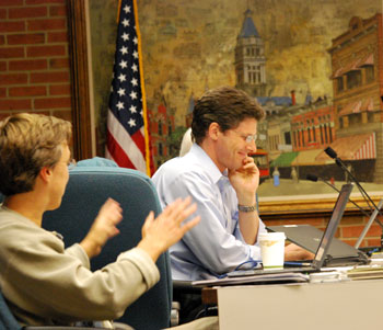 Carsten Hohnke (Ward 5) laughs off Margie Teall's apparent attempt to cast a spell on him.