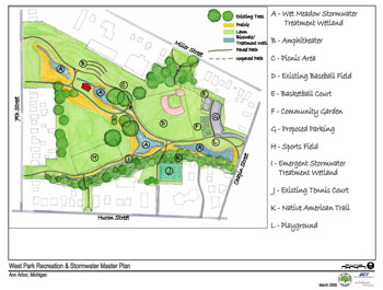 A rendering of proposed improvements at West Park. (Map links to larger image.)