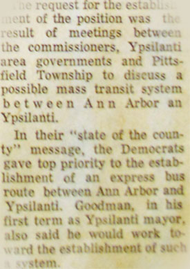 Clipping from April 3, 1973 Ann Arbor News newspaper