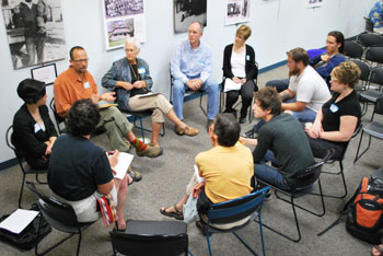 One of four breakout groups at Wednesday night's forum. This group was discussing the issue of food. (Photo by the writer.)