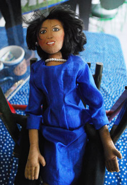A close-up of the Michelle Obama doll made by Kathy Snyder of Ann Arbor.
