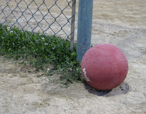 A moment of rest for the familiar red kickball. (Photo by the writer.)