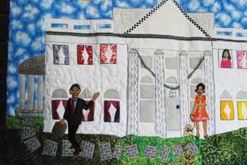 Detail from a quilted wall hanging by Susan Walen, showing the Obama family at the White House.