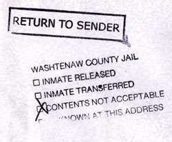 Return to Sender stamp from Washtenaw County Jail