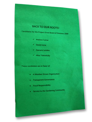 half-sheet of green paper on which are printed a slate of candidates for the Project Grow Board