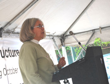 Josie Parker, director of the Ann Arbor District Library, speaks to the crowd at the Oct. 1 groundbreaking for the Library Lot underground parking structure.
