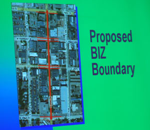 slide showing in red highlight the area of Main Street Ann Arbor that would be included in a business improvement zone