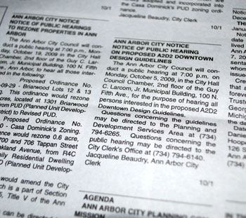 picture of a page of public notices in a newspaper, the Washtenaw Legal News