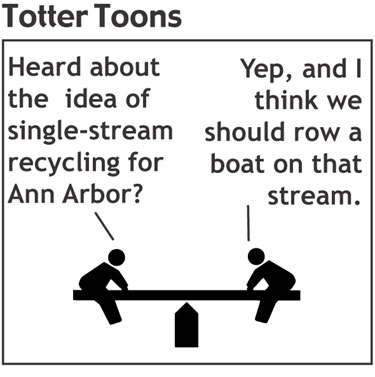 teeter totter cartoon about single stream recycling