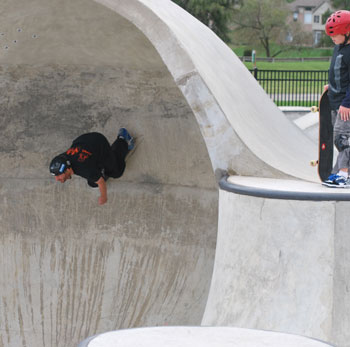Trevor Staples skating the capsule at Riley Skatepark in Farmington Hills Michigan