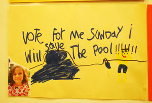 Keeping Mack Pool open is even a campaign issue for student council, based on this sign in the hallway.