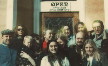This snapshot of Del Rio's staff was taken in the early '70s. Ernie Harburg is in the back row, far right, wearing glasses: Ernie Harburg. Back row, middle, in red shirt: Torry Harburg.  Front row, far right: Sara Moulton. Just behind Sara, with moustache and glasses, is Rick Burgess.