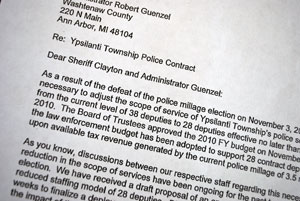 A detail from a letter sent to Sheriff Jerry Clayton and Washtenaw County administrator Bob Guenzel from Ypsilanti Township supervisor Brenda Stumbo, about the township's need to reduce its number of contract deputies.