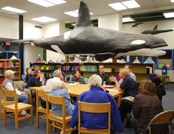The aquatic theme was never far from view at Thursday night's public meeting about Mack Pool, held in the media center of the Ann Arbor Open School @ Mack. (Photo by the writer.)