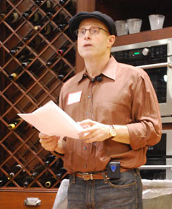 "Paul Saginaw, co-founder of Zingerman's, spoke about building a local ""living economy"" at Monday night's Think Local First annual meeting. (Photo by the writer.)"