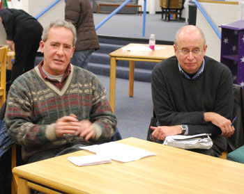 Scott Rosencrans, left, and Ed Sketch are both members of the Mack Pool Task Force. Rosencrans is chair of the Ann Arbor Park Advisory Commission. Sketch is coordinator for the Mack Pool Users Group. (Photo by the writer.)