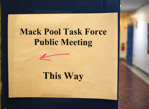 Tuesday's public meeting of the Mack Pool Task Force drew about 25 people.