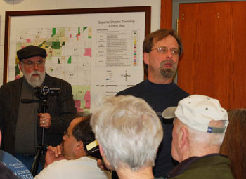 Dennis Donahue, standing at right, spoke at the Jan. 19 public hearing at the Superior Township meeting.