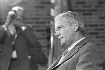 President Fleming at a press conference during the Black Action Movement strike in March of 1970.