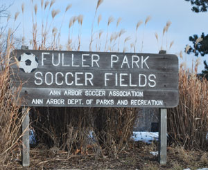 Sign at the entrance to the Fuller Park soccer fields, next to Fuller Pool.