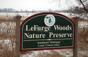 A sign marking the LeFurge Woods Nature Preserve in Superior Township.