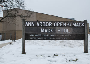 The entrance to Mack Pool, located at the Ann Arbor Open @ Mack school at the corner of Miller and Brooks.