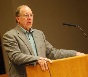 Roger Fraser, speaking at Monday's meeting of the Ann Arbor District Library board. (Photos by the writer.)