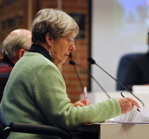 Planning commissioner Jean Carlberg, a former city councilmember, reviews documents during the Jan. 5 planning commission meeting.