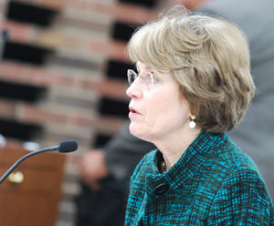 UM president Mary Sue Coleman gives opening remarks at the Jan. 21 board of regents meeting.