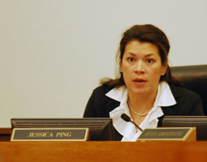 Jessica Ping is chair of the board's working session and oversaw the interview with Verna McDaniel.