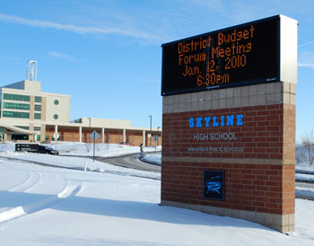 Information sign outside Skyline High School Ann Arbor Michigan