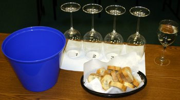 "A formal place setting for a wine tasting. The blue ""spit bucket"""