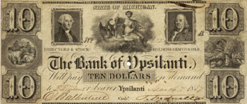This 1837 currency from the Bank of Ypsilanti features cows, a sheep, and a beehive.