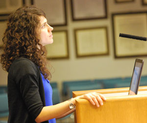 Molly Notarianni, the city of Ann Arbor's market manager, makes a presentation on revised vendor application form at the Feb. 2 meeting of the Public Market Advisory Commission.