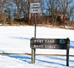 A sign at the entrance to Ann Arbor's West Park