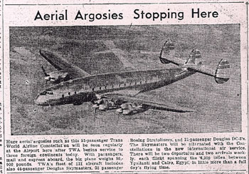 Newspaper clipping of 1947 airplane