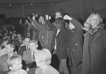 Protesters at Hill Auditorium during an Honors Convocation