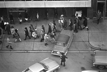 Black Action Movement protestors in 1970 outside a University of Michigan parking structure