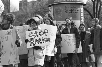 Black Action Movement protesters on the University of Michigan campus in 1970