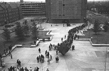 Protesters in 1970 at the University of Michigan Regents Plaza
