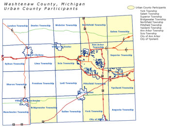 Washtenaw Urban County map