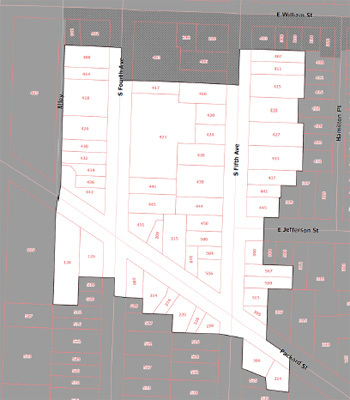 Map of proposed Fourth and Fifth Avenue historic district