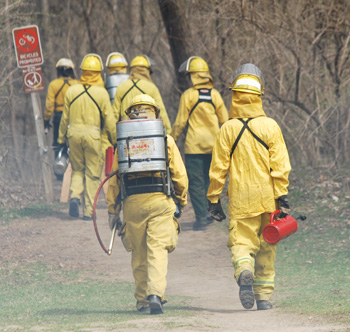 Burn crew walks into the woods at Argo Nature Area