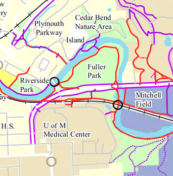 Map from the city of Ann Arbor's PROS Plan showing Fuller Park