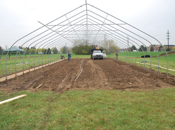 Wide view of a hoop house
