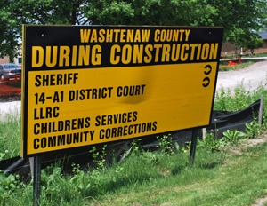 Sign at the entrance to the corrections complex off of Washtenaw Avenue