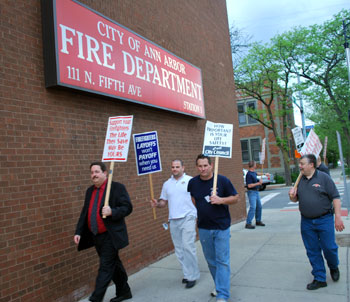 Fire fighters informational picket