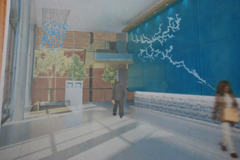 A drawing that shows the proposed art installation by Herbert Dreiseitl for the lobby of the new police/courts building on Fifth and Huron.