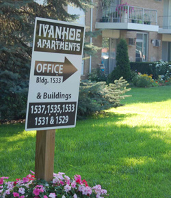 Ivanhoe Apartments office sign