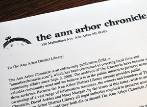 Letter from The Ann Arbor Chronicle to the Ann Arbor District Library